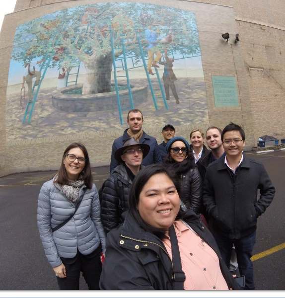 With 2016 Eisenhower Fellows and the EF Mural Behind Us during our Mural Art Tour and Walk at Philadelphia